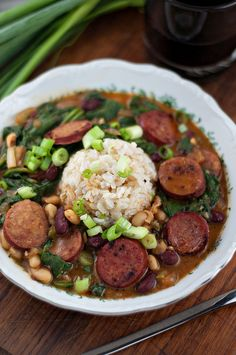 Spicy Andouille, Beans & Spinach with Brown Rice