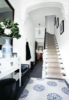 interior, rug, blue, white walls, black white, foyer, hallway, stair runners, entryway