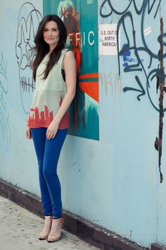 A pair of Gap blue legging jeans, as featured on the blog Style on the Couch.