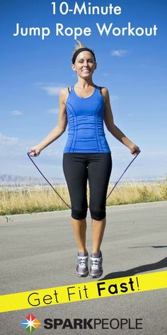 Grab your jump rope and take a 10-minute #fitness break! Love this short and sweaty routine! | via @SparkPeople #workout #exercise #homeworkout