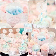 baby parties, baby gender, cotton candy, gender reveal parties, cotton candi, color schemes, party desserts, babi shower, baby showers