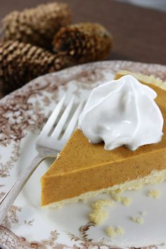 Pumpkin Pie gluten-free, dairy-free, egg-free. Saw the first pumpkins of the season at the grocer today!! Bring on fall.
