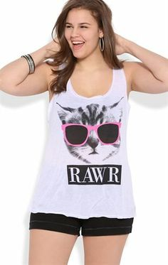 Deb Shops Plus Size Racerack Tank Top with Kitty Sunglasses and Rawr Screen $10.00
