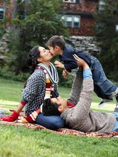 A fun, warm family outing calls for cozy layers. Model Amanda Montoya spends some quality time with her husband, Quetzal, and their 3-year-old son, Marley.