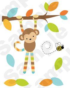 Mod Monkey Nursery Wall Mural