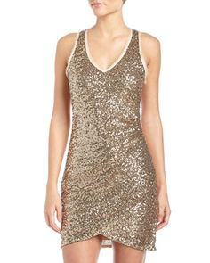 Ruched V-Neck Sequin Dress, Gold by Ali Ro at Neiman Marcus Last Call.