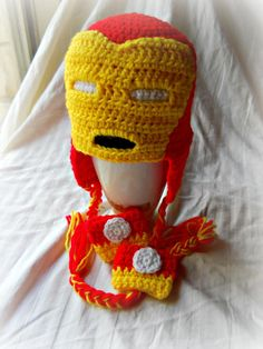 Ironman Crochet Hat and Fingerless Gloves Set by wickedstitches on Zibbet
