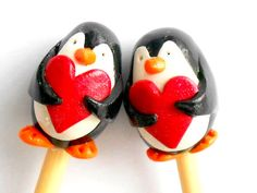 Penguin Knitting Needles by TheClayBeanCo on Etsy, $10.00