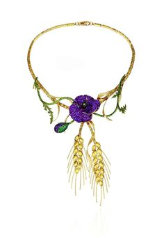 Chopard's 2013 Red Carpet collection Poppy necklace featuring pavé-set ruby petals, a similarly set bud and golden sheaves of wheat © Chopard.
