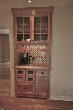 Replace existing closet with coffee Station + Bar in matching kitchen cabinets