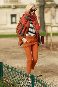rusty hues. #JoannaHillman looking brilliant in Paris.