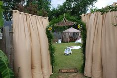 curtains to cover up doors to the reception