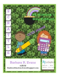 Sure an' your students will love this FREEBIE for St. Paddy's Day.  This learning center combines word work with computation, competition with problem solving.  #criticalthinking #problemsolving #enrichment #literacycenters #mathcenters #computation #wordwork #BarbEvans #itsabouttimeteachers
