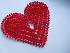 Hand crochet large red heart doily
