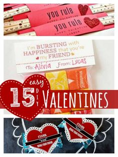 15 Easy DIY Valentine Ideas you can make at home.  Find more at http://faithfulprovisions.com
