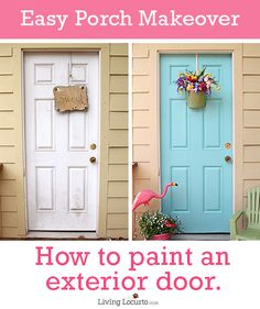 how to paint front door, how to paint exterior door, how to paint an exterior door, back doors, porch makeover, blue doors, painting front porch, easy paint front door, painted porch steps