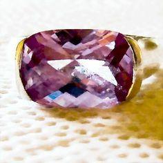 Vintage Violet Color Crystal Pedestal Sterling Silver Ring