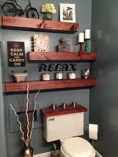 Floating shelves good idea for bathroom - can display stuff but not but out too much! bathroom floating shelves, bathroom shelving, ideas for bathroom, float shelv, bathroom shelves diy, bathroom floating shelf, guest bathrooms, floating bathroom shelves, floating shelves bathroom