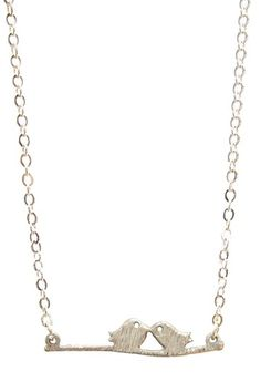 Silver Love Birds Necklace