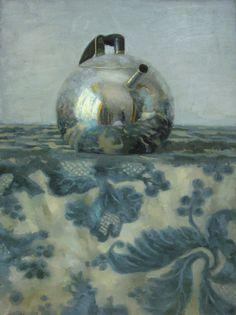 'Silver Teapot on Blue Floral' by Russian-born painter Olga Antonova (b 1956).
