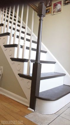 Swiss Chocolate brown paint from Valspar on stair treads.