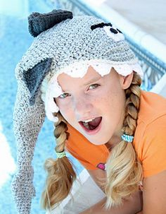 It's almost shark week and everyone needs a new hat to celebrate. This crochet pattern also includes a bear option!  #sharkweek #crochetshark