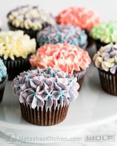 chocolate cupcakes, cupcak tutori, chocol cupcak, hydrangea cupcak