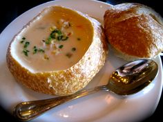 crab & corn bisque, boudin bakery