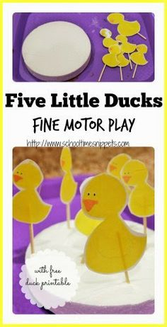 Five Little Ducks Fine Motor Play (with free duck printable)