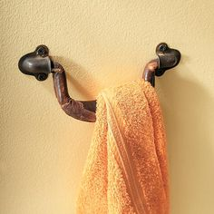 use an old luggage handle as a towel holder