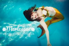 Underwater photograph of Mermaid Ondine of the Merlesque professional mermaid troupe, based in Cambridge UK. Find out more at:  http://www.realmermaids.co.uk