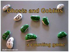 preschool activities, preschoolprek idea, ghost, count game