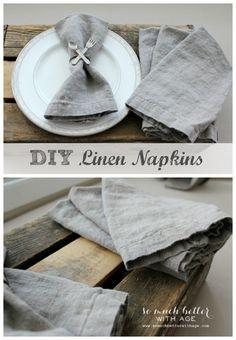 DIY linen napkins somuchbetterwithage.com