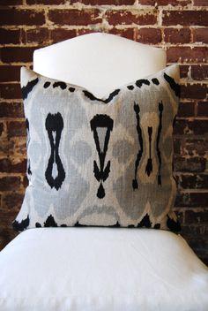 Pillow - Black and Grey Ikat Hand Printed