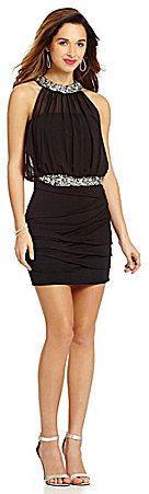 Jodi Kristopher Trim Neckline Blouson 2-Fer Dress
