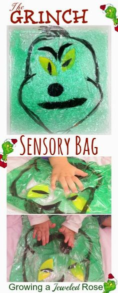SQUISHY Grinch Sensory Bag for Kids- sensory play with NO MESS!  Squish the Grinch shapes inside to form The Grinch; Great for fine motor