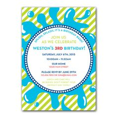Splash or Water Themed Party Invitation by greenidesign on Etsy, $15.00