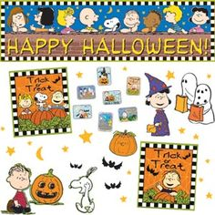 Peanuts Halloween Bulletin Board And Sticker Set