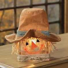 Scarecrow Glass Block Lamp - TerrysVillage.com
