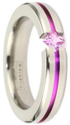 Titanium pink sapphire tension ring