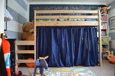Kids' Shared Room // DIY Loft Bed by Meg Padgett from Revamp Homegoods fun curtain, girl room, beds, loft bed, shared kids rooms, kid rooms, bed diy, bedroom, twin loft
