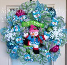 Christmas Wreaths | Christmas Wreath, Snowman Wreath, Holidays, Door Wreath, Deco Mesh ... decor, holiday, christma wreath, snowman wreath, winter wonderland, deco mesh wreaths christmas, door, blues, deco mesh christmas wreaths