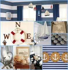 Nautical-themed Room Inspiration Board; i like the compass around the life preserver