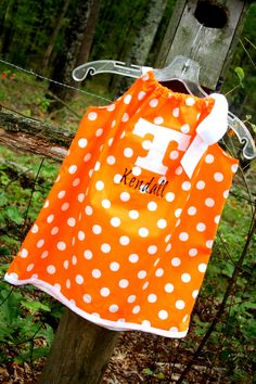 I can definitely make one of these and then monogram her name on it :)      Tennessee Vols Pillowcase Dress w/ Power T applique' by livikate1, $25.00-Omggggg must get this!!!