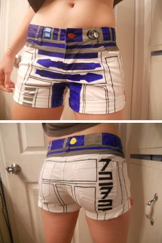 Hand painted R2D2 shorts