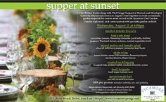 Join Sycamore & the Gardens of Avila for a very unique Supper At Sunset taking place in our Chef's Garden on August 21st at 6pm. Reservations required, please call Jason at 540-3640!