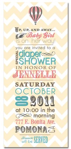 chevron zigzag air balloon printable baby shower invite diaper shower, balloon party, font, hot balloon baby invitation, shower invit, hot air balloons, babi shower, parti, baby showers