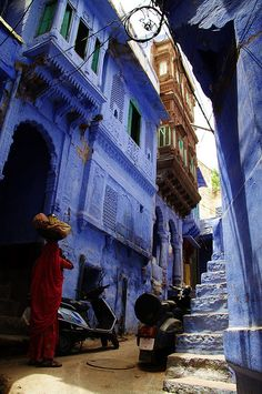 The blue streets of Jodhpur in Rajasthan, India