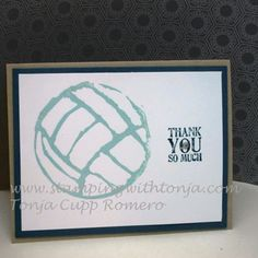 Undefined stamp set by Stampin' Up! Volleyball stamp carved by Tonja Romero