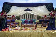 5a indian ceremony outdoor fabric mandap. More wedding photos: http://www.indianweddingsite.com/multicultural-fusion-new-york-indian-wedding-clarkwalker-studio/